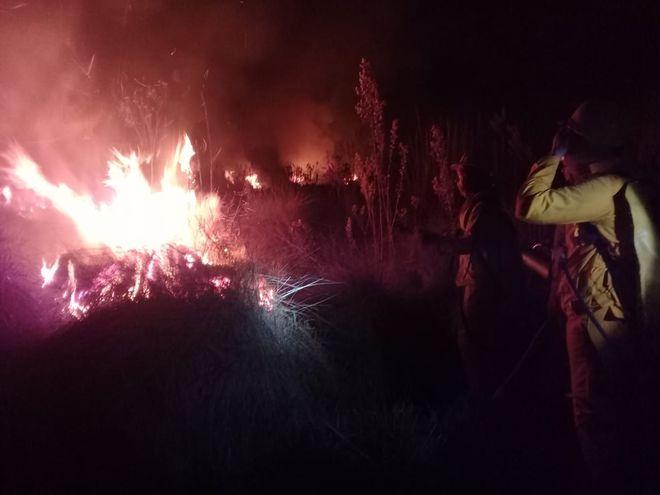 Incendio de pastizales en Abaí.