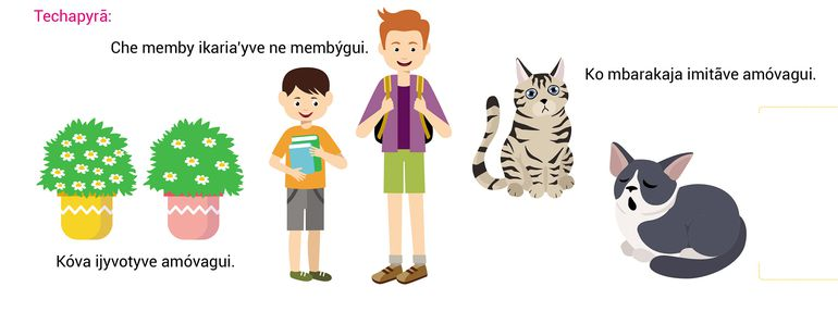 Techapyrã Kokatu mbojojáva mbotuicháva (comparativo de superioridad).