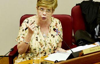 La senadora Desirée Masi, del Partido Democrático Progresista, ayer durante la sesión de la Comisión Permanente del Congreso.