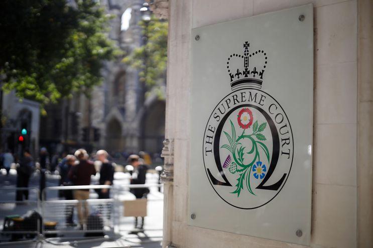 La entrada de la sede de la Corte Suprema británica, en el centro de Londres.