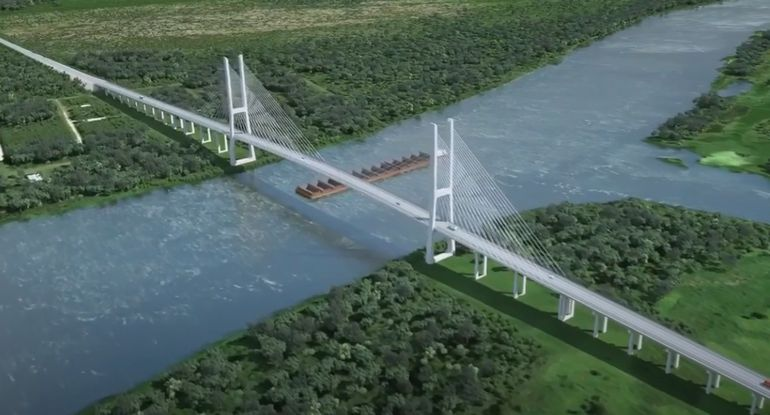 Así se verá el puente Carmelo Peralta - Puerto Murtinho, cuya licitación está en marcha.