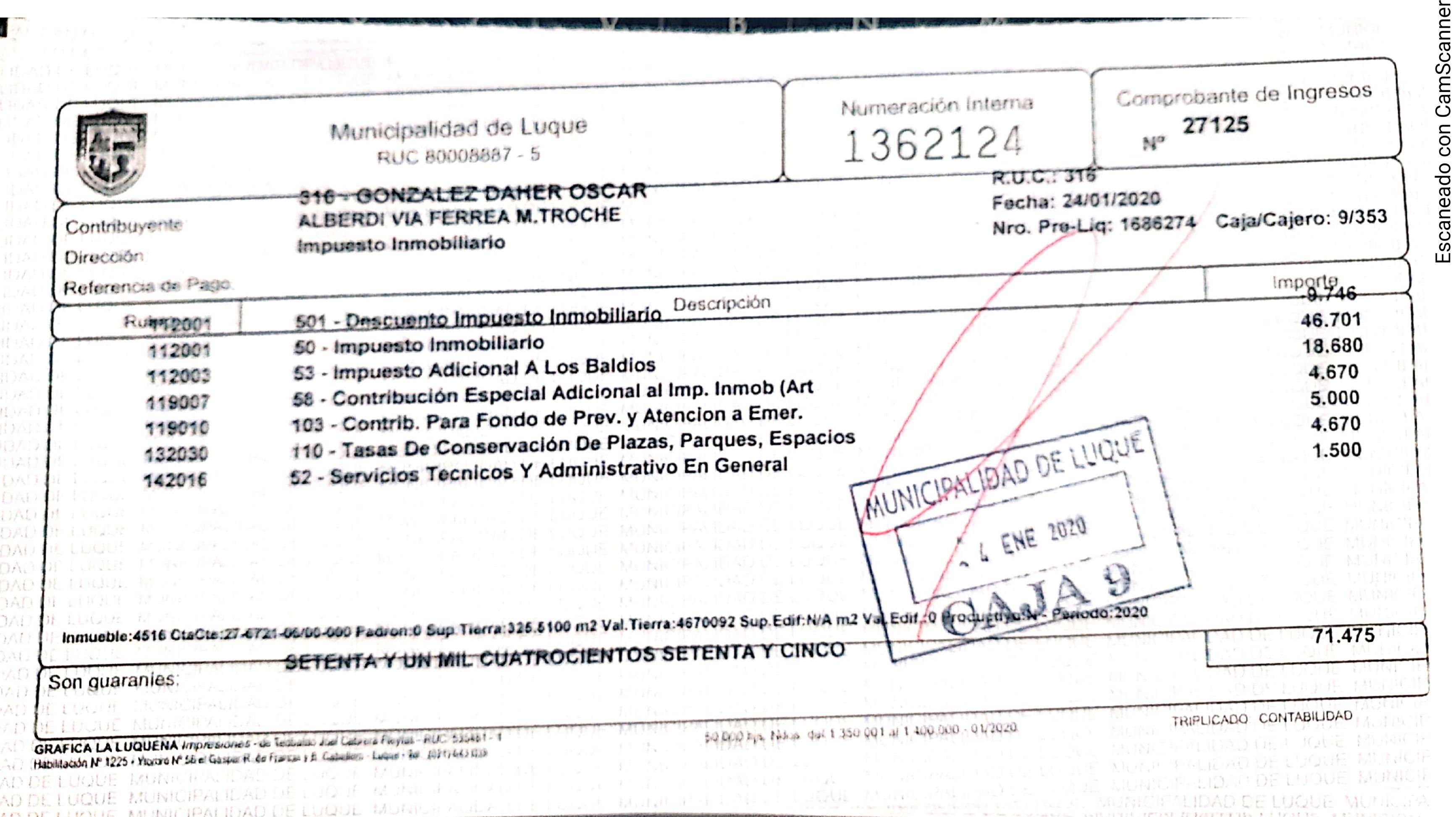 Los inmuebles del clan González Daher pagan apenas G. 70.000.