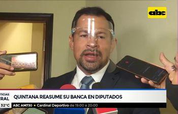 Quintana reasume su banca en Diputados