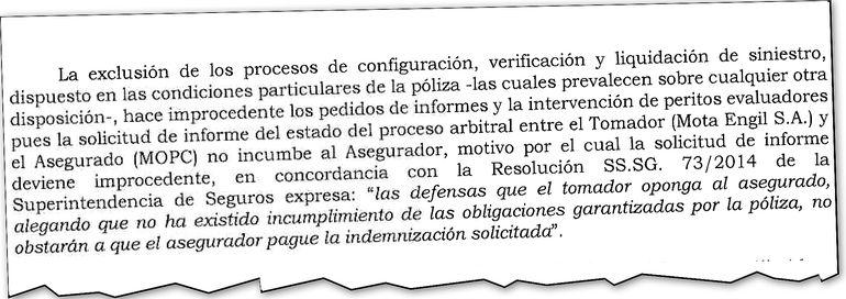 Nota del MOPC en la que advirtió a Royal Seguros sobre la resolución N° 073/2014 de la Superintendencia de Seguros.