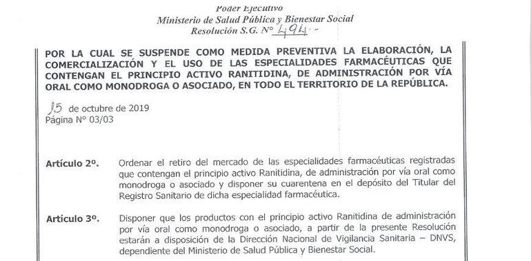 """Salud suspende elaboración y comercialización de """"ranitidina""""."""