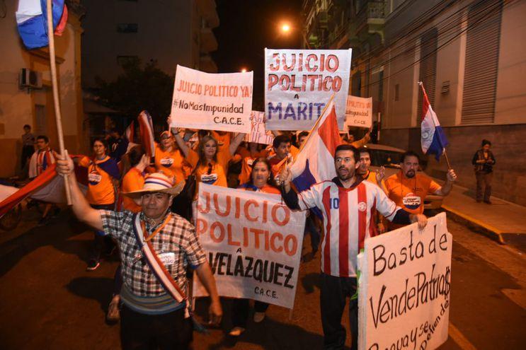 El grupo social exigen jucio político tanto para el presidente Mario Abdo Benítez como para el vice, Hugo Velázquez.