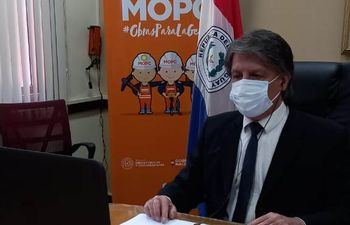 Viceministro de Minas y Energía, Carlos Zaldívar, durante su participación virtual en el evento.
