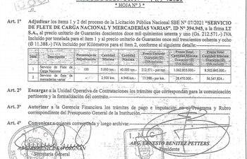 Resolución de adjudicación del flete terrestre a LT.