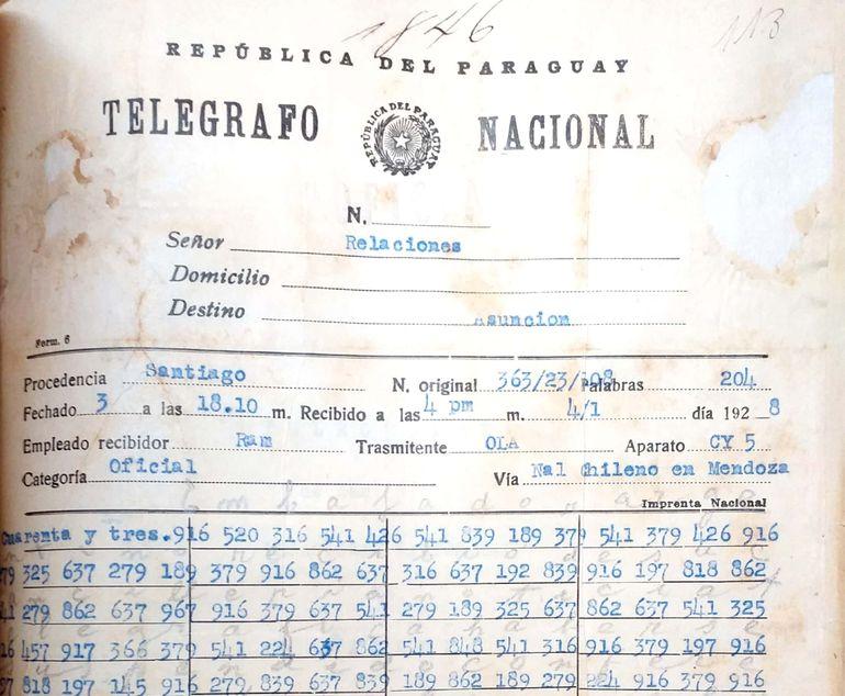 Informe cifrado de 1928 entre Paraguay y Bolivia.