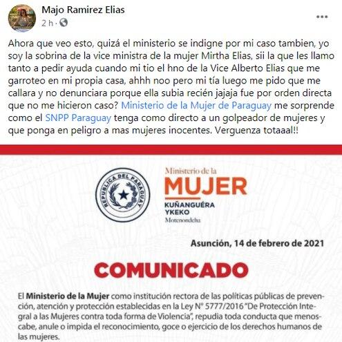 Una sobrina de viceministra de la Mujer, Mirtha Elías, criticó al indignación selectiva que realiza la institución que las representa.