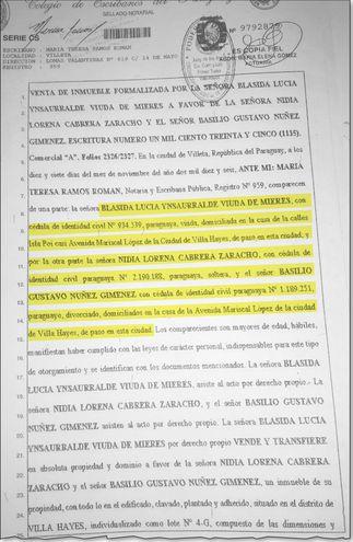 Documentación de compra por parte del diputado y su pareja. En la escritura vuelve a  aparecer como dirección de Blásida Ynsaurralde, Isla Po'i casi Mariscal López de Villa Hayes.