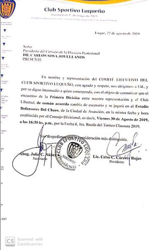 La nota que presentó Luqueño a la Asociación Paraguay de Fútbol (APF).