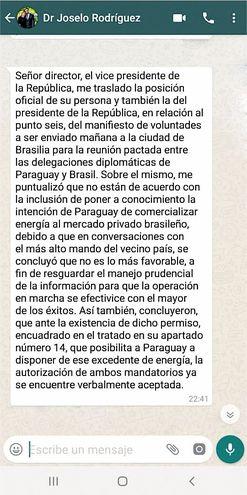 Mensaje a autoridades de ANDE  del Abog. José Rodríguez, asesor jurídico del Vicepresidente. Es  hijo de la titular de Seprelad, María Epifanía González.