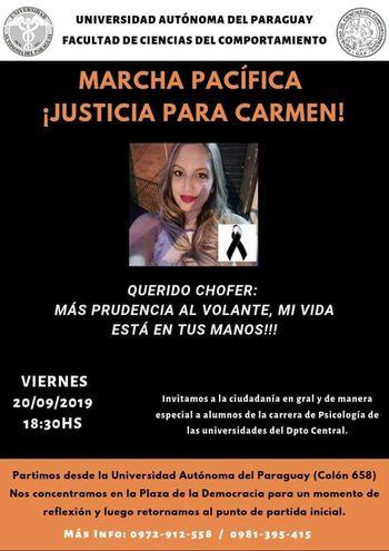 Afiche de la marcha que realizarán hoy familiares y compañeros universitarios de la joven Carmen Vázquez.