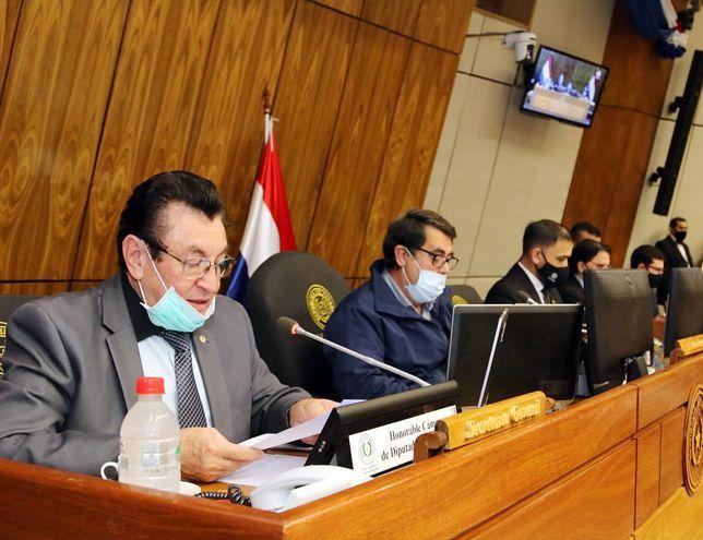 La sesión de la Cámara de Diputados fue presidida ayer por el diputado Enrique Mineur (PLRA), vicepresidente 1º, (2º de la iz). Varios  legisladores participaron de la reunión en forma virtual.