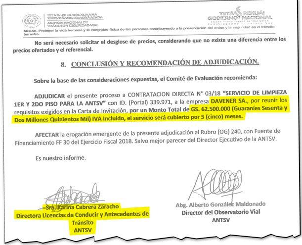 Conclusión de la evaluación que favorecía a Davener SA con un contrato de G. 62 millones con la ANTSV. El documento fue firmado en el año 2018 por Esmilce Karina Cabrera Zaracho.