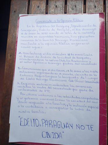 La nota publicada por la familia de Edelio Morínigo.