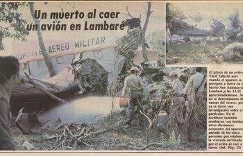 El 30 de agosto de 1980, ABC reportó el accidente aéreo en Lambaré, en el que falleció el piloto mayor Artemio Acuña.
