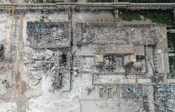 Vista aérea de los daños causados por la explosión de la fábrica del Henan Coal Gas Group en Yima.