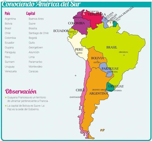Mapa Político De Sudamérica.Mapa Politico De America Del Sur Escolar Abc Color