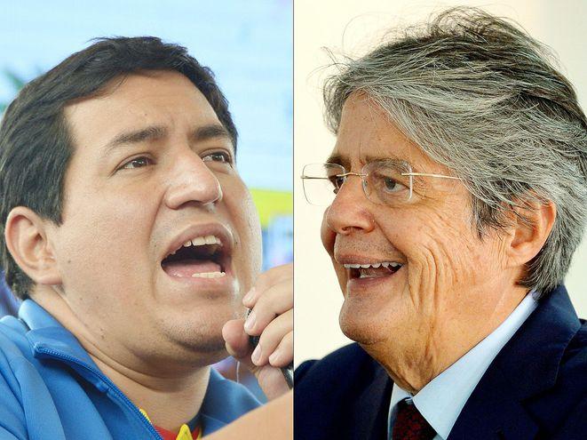 La autoridad electoral ecuatoriana anunció que Andrés Arauz (i) y Guillermo Lasso (d) irán al balotaje.