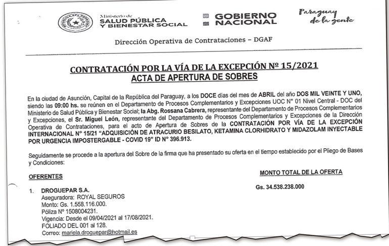La presentación de la oferta de la firma Droguepar SA, de Héctor Gibbons, que pretende G. 34.538 millones.