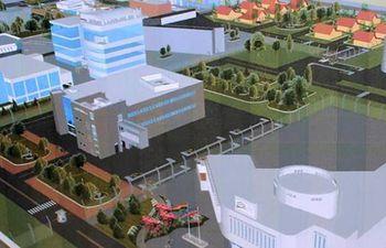 Maqueta digital del futuro Centro de Investigación y Desarrollo en Tecnología Nuclear de El Alto, Bolivia.