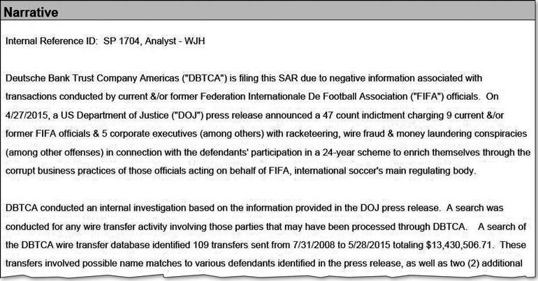 Sujetos ligados al caso FIFAgate realizaron 109 transferencias por más de US$ 13 millones.