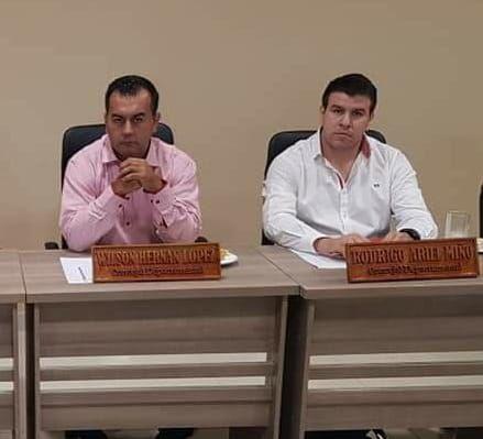 Wilson López y Rodrigo Miño, concejales departamentales suspendidos.