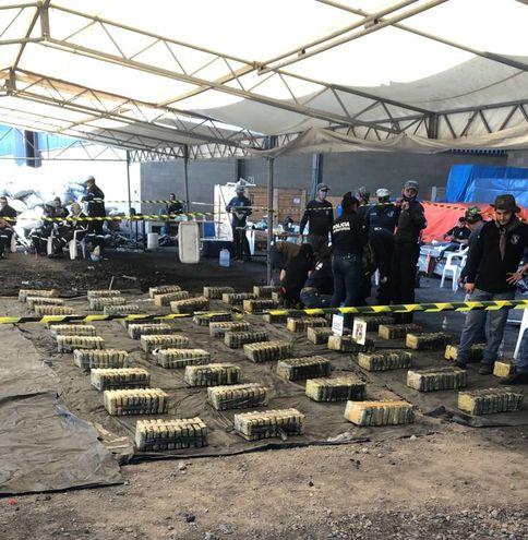 Panes de cocaína encontrados dentro de bolsas de carbón en contenedores incautados en el Puerto Terport, de Villeta.
