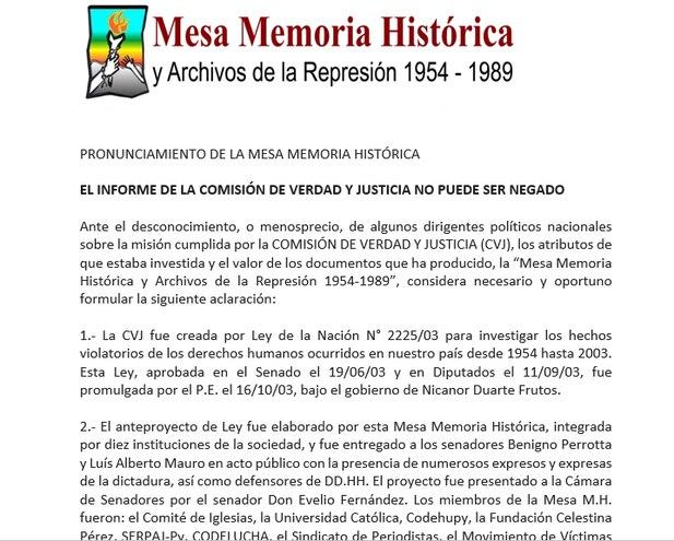 Pronunciamiento de la Mesa Memoria Histórica