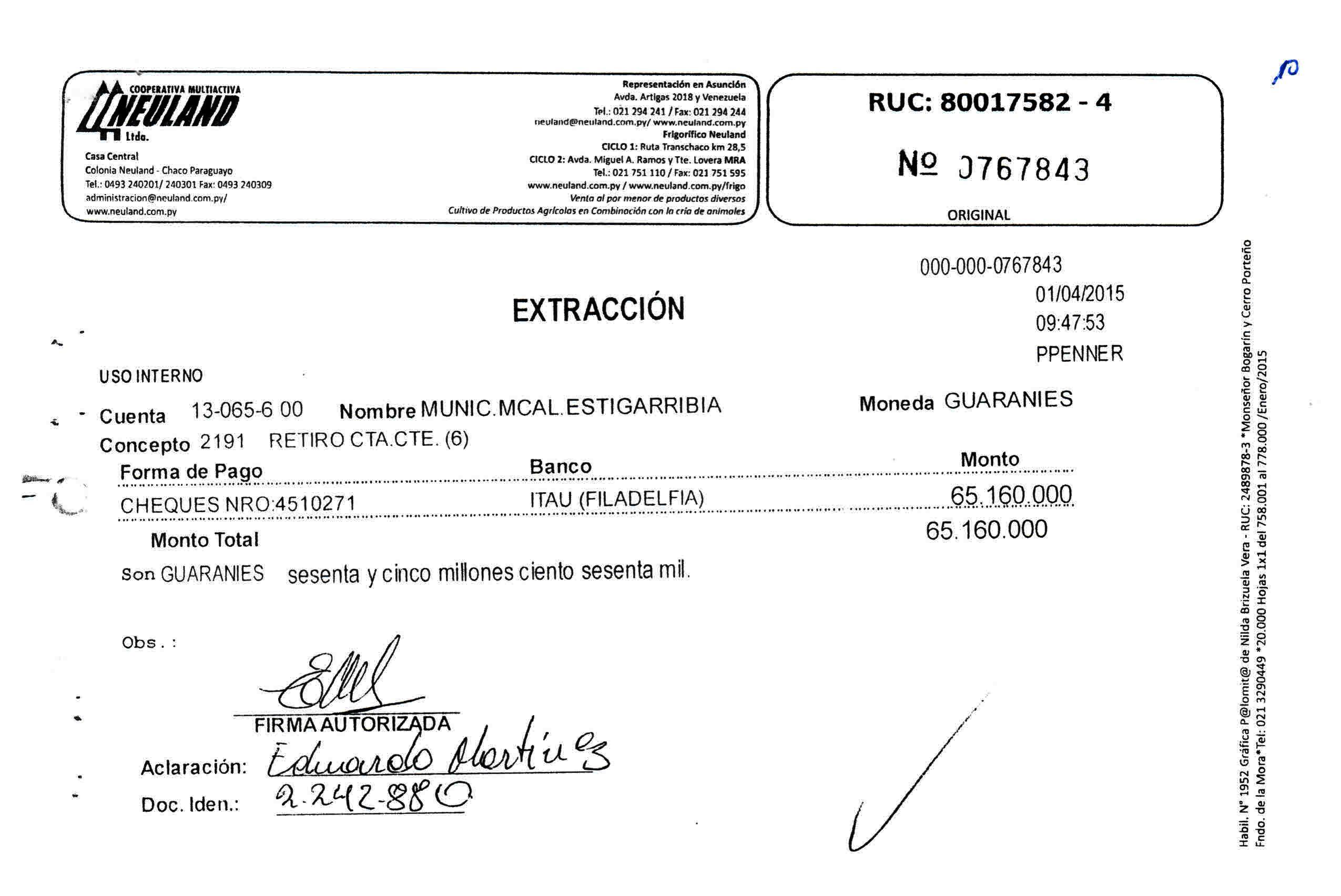 Para empezar bien abril de 2015, el concejal Martínez retiró G. 65 millones de la comuna.