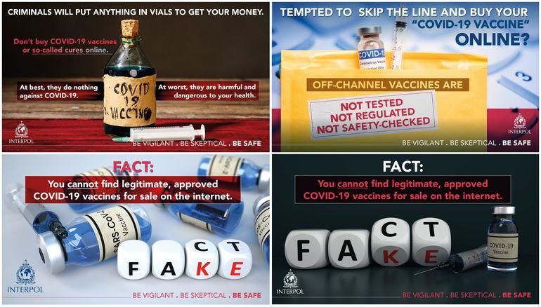 Imágenes de Interpol difundidas este miércoles con motivo de la emisión por parte de este organismo de una advertencia mundial para no comprar por internet vacunas contra la covid, después del desmantelamiento de redes de fraude en China y Sudáfrica.