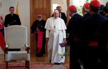 El papa Francisco hoy en la nunciatura apostólica de Bratislava, en Eslovaquia.