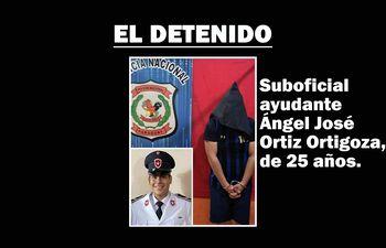 El policía Ángel José Ortiz Ortigoza, capturado por asalto.