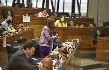 La diputada Celeste Amarilla (PLRA, vestida de color lila) fue suspendida por 60 días sin goce de sueldo.
