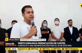 Prieto denuncia persecución de Cartes