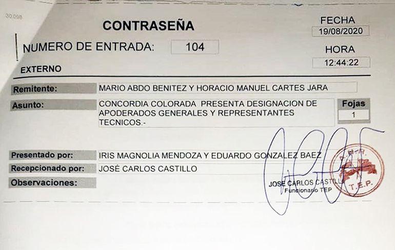 """Constancia de inscripción de los apoderados del nuevo movimiento """"Concordia Colorada""""."""