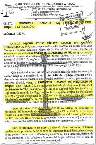 Presentación de la demanda promovida por Ferreira Ortiz para obtener la posesión de las tierras de la reserva Morombí