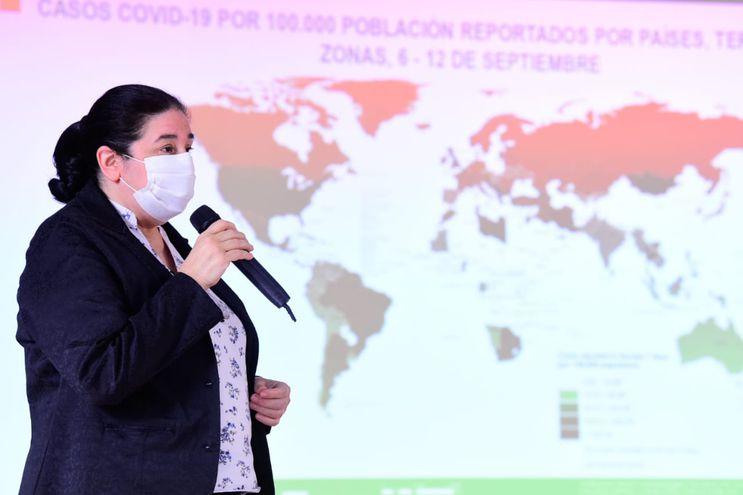 Informe epidemiológico semanal, presentado por la doctora Sandra Irala, directora de Vigilancia de la Salud.