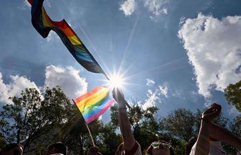 Participantes en una marcha del Orgullo Gay en Ciudad de México, el pasado sábado.