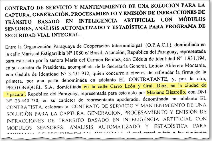 Parte del contrato analizado por la Junta Directiva de la Opaci y aprobado por la comisión asesora, integrada por tres miembros de la directiva: Nelson Peralta, Venancio Díaz y Julio Ramírez.