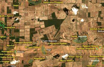 Mapa con los topónimos ancestrales del pueblo Enlhet.