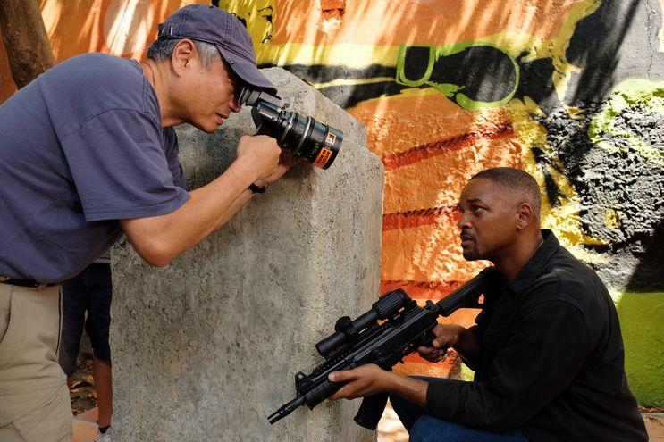 """El director Ang Lee y Will Smith durante el rodaje de """"Proyecto Géminis""""."""