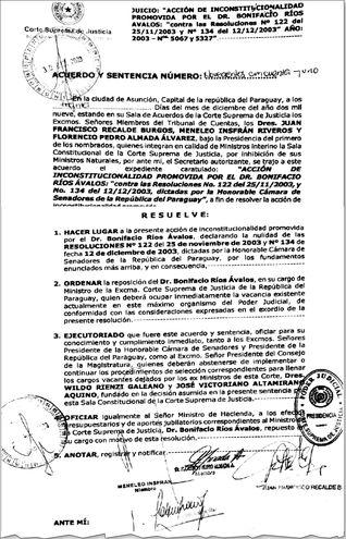 Fallo de la Sala Constitucional del 2009, por el cual se ordena la reposición de Ríos Ávalos a la Corte.