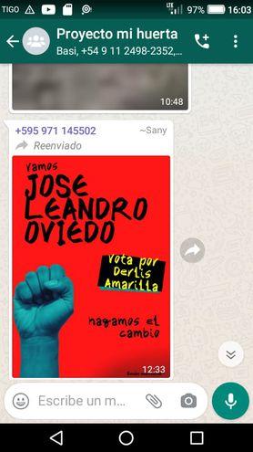Un screen de un mensaje enviado a grupo del programa Mi Huerta de Tekoporã de Leandro Oviedo.