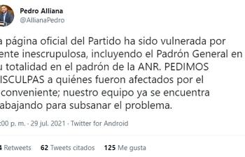 Pronciamiento de Pedro Alliana tras escandaloso caso de afiliación masiva irregular a la ANR.
