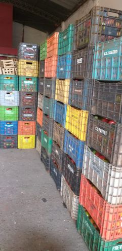 Así estaban acomodadas las cajas de tomate en el depósito allanado. Aún no se precisó la cantidad.