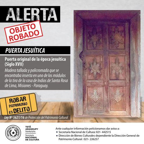 Roban patrimonio cultural jesuítico de Santa Rosa Misiones.