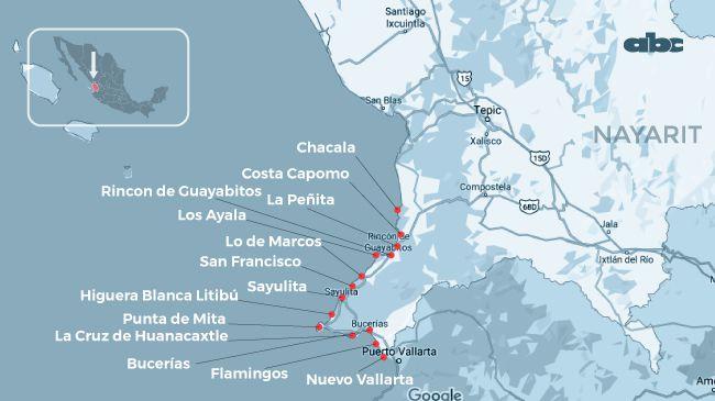 Localización del estado Nayarit, en México.